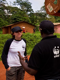 Alphonse of WWF Cameroon and Nicola of WWF UK, East province, Cameroon