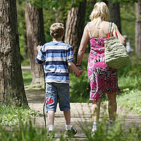 Mother and son walking through woodland, UK