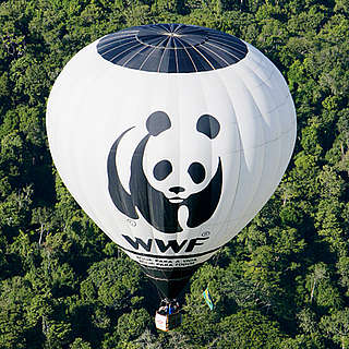 WWF hot air balloon above Amazon rainforest