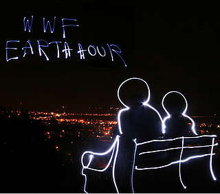 WWF's Earth Hour in light writing