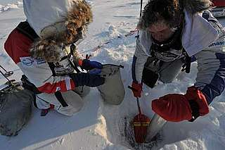 Ann Daniels and Pen Hadow take ice measurements