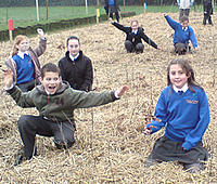 Pupils in their school tree nursery
