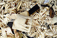 Ivory products carved from poached ivory elephant tusks & rhino horn confiscated by anti-poaching patrols in Gabon.