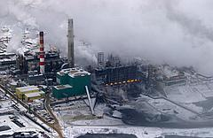 Upgrader at oil sands operations, Alberta, Canada.