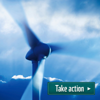 Wind turbine with text 'take action'