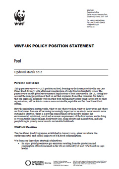 WWF-UK Policy Position Statement on Food