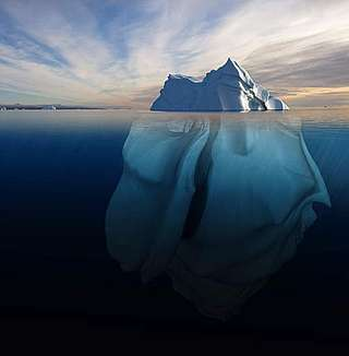 Melting iceberg showing the portion underwater.