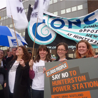 Celebrating success - North Ayrshire Council vote against the proposed coal-fired power station at Hunterston.