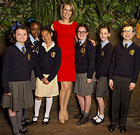 St Johns RC Primary School meet Sky presenter Charlotte Hawkins at the launch of the I Love Amazon Young Reporter Competition