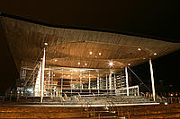 Senedd building before Earth Hour switch off
