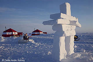 Inuit Inukshuk ice sculpture at the Catlin Arctic Survey Ice Base
