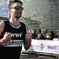 Johnny running the 2012 London Triathlon