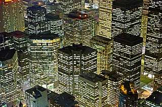 Lit up buildings using large amounts of electricity, Toronto, Ontario, Canada.