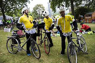 Team Panda RideLondon laughing
