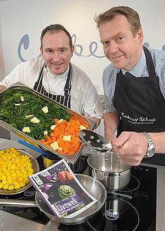 Niall McKenna (l), Great British Menu finalist joins Geoff Nuttall, Head of WWF-Northern Ireland to create a Livewell lunch to promote healthy eating for a healthy planet - to celebrate WWF's 50th birthday