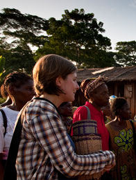 Nicola, WWF-UK with women from the WWF-supported Women's Health & Conservation Society, Mambele, East province, Cameroon
