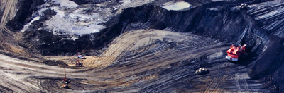 Aerial view of Shell Albian mine north of Fort McMurray, Alberta, Canada