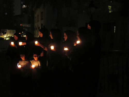 Earth Hour 2012, Dubai Downtown Boulevard, candlelit, United Arab Emirates (UAE), March 2012