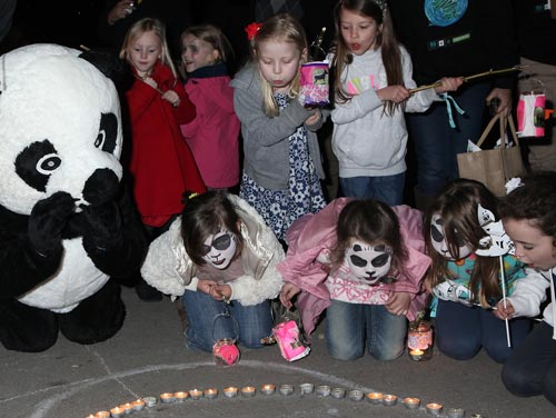 Ysgol Evan James primary school in Pontypridd, Wales - WWF's Earth Hour Community Challenge winners - led off the UK switch-off celebrations 2012