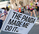 The Panda Made Me Do It flag at the London Marathon