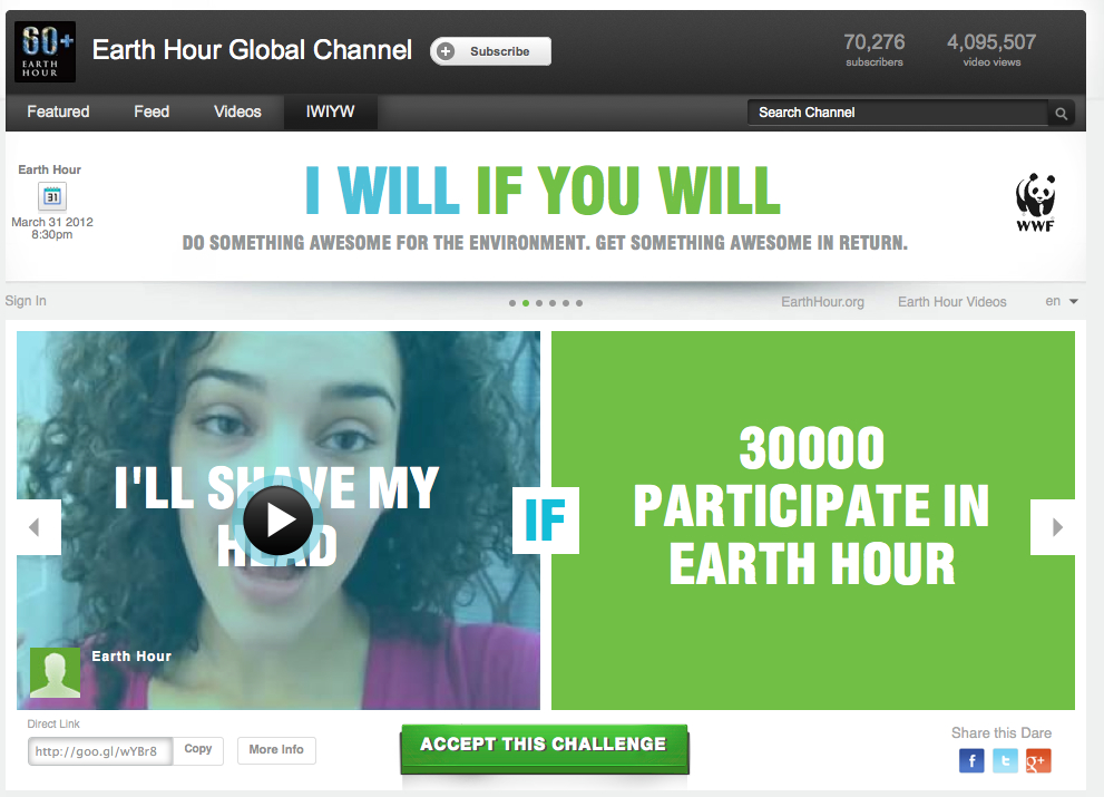 Earth Hour 'I Will If You Will' Youtube page, March 2012