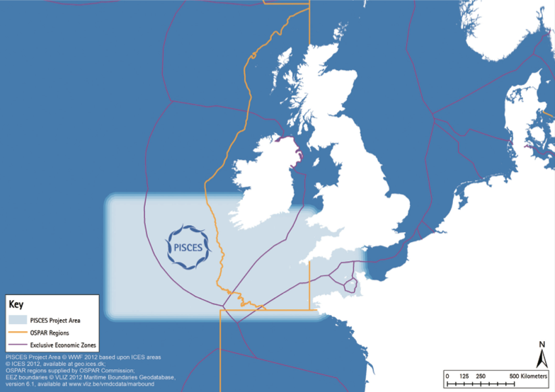 Map showing the geographic scope of PISCES Celtic Sea project area, in relation to Marine Strategy Framework Directive sub-regions, OSPAR regions and territorial waters (EEZs)