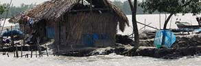 House threatened by rising sea levels in the Sundarbans National Park, Bangladesh