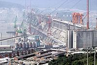 Construction site of the Three Gorges dam on the Yangtze river.