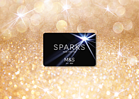 M&S Sparks card with sparkle background