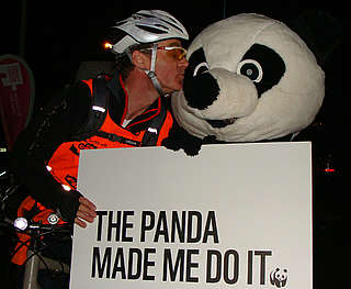 Panda being kissed at Nightrider 2012