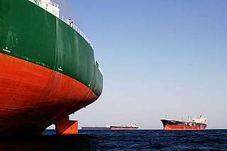 Petrol tanker waiting for its cargo, Fujeirah port, United Arab Emirates, Indian Ocean