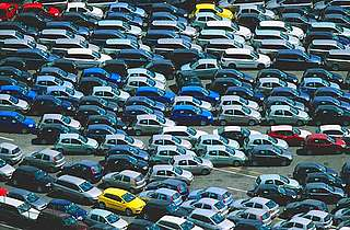 Cars ready for export, Sorrento, Italy.