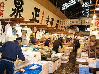 Tsukiji wholesale fish market Japan