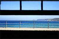 Sea view through window