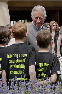His Royal Highness, The Prince of Wales, president of WWF-UK, meets schoolchildren from West Wittering School, West Sussex attending the WWF-UK Green Ambassador Summit at Highgrove, Glos